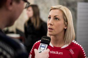 170407 LB07s Mia Persson intervjuas under upptaktstrŠffen fšr damallsvenskan i fotboll den 7 april 2017 i Malmš. Foto: Petter Arvidson / BILDBYRN / kod PA / 91758