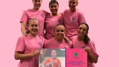 Photo of Kävlinges damer spelar match i Rosa bandets tecken