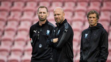 Photo of Andreas Georgson och Olof Persson coachar MFF mot Örebro